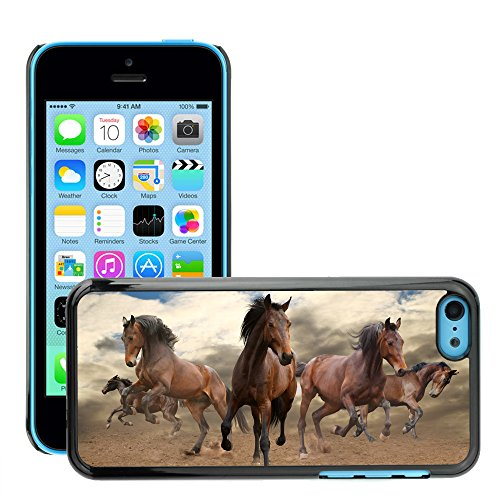 Premio Sottile Slim Cassa Custodia Case Cover Shell // V00001681 troupeau de chevaux // Apple iPhone 5C