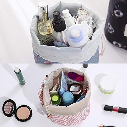 Travel Cosmetic Bag, Barrel Makeup Bag for Women Portable Foldable Cases Multifunctional Toiletry Bucket Bags Round Organizer Pocket Collapsible Blue Pink Flamingo