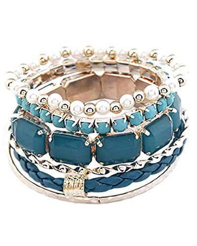 Young & Forever Women's Tropical Summer Fused Stack ' Em Up Bracelet Gold Toned by Young & Forever