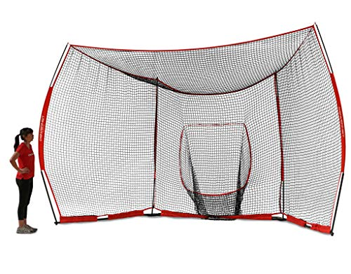 PowerNet Portable Baseball Backstop | Large 16 Foot Wide by 9 Foot High Fully Collapsible Easy to Transport | Portable w/Instant Setup No Tools Required | Turns Any Open Space Into a Baseball Diamond ()