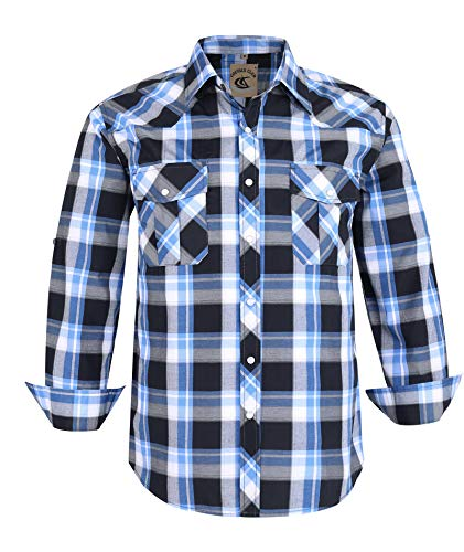Coevals Club Men's Button Down Plaid Long Sleeve Work Casual Shirt (Black & Blue #19, S)
