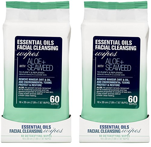- Essential Oils - 2 Pack (60 Count Each) Aloe and Seaweed Facial Cleansing Wipes
