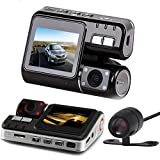 HD DVR 170° Car Dash Cam Recorder, Kingfansion 1080p LED Night Vision G-sensor+Rear Camera