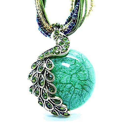 [Hydne Restoring Ancient Ways Bohemia Peacock Cat-Eys Stone Women Nacklace(Green)] (Vintage Costume Jewelry Images)