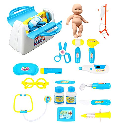 20 Pcs Deluxe Doctor Kit, Dentist Medicine Box Playset with 5 Electronic Ligh Up Medical Equipment Tools, Kids Simulation Pretend Stethoscope Thermometer Syringe (Doctor Kit, Blue)