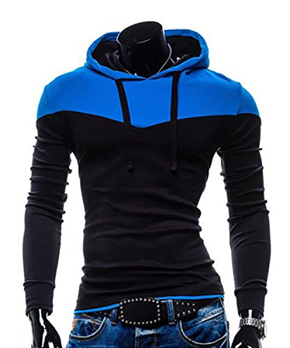 Next Class Men's Novelty Color Pullover Hoodies Sports Outwear US L(Asian Tag size XXL) Black&Royal Blue