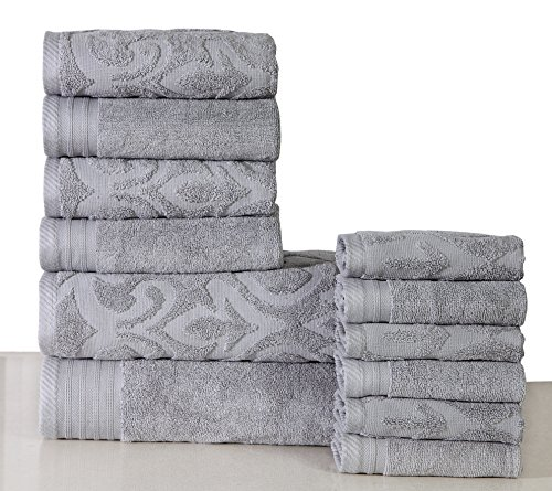 600 GSM Cotton 12 Piece Towel Set (Platinum Grey): 1 Jacquard & 1 Solid Bath Towel, 2 Jacquard & 2 Solid Hand Towels, 3 Jacquard & 3 Solid Washcloths, Long-staple Cotton, Absorbent, Machine Washable -