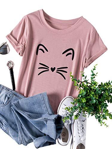 Womens Pink Cat T-shirt - SheIn Women's Casual Short Sleeve Cat Print Plus Size T-Shirt Tee Pink 3XL