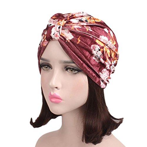 Women India Muslim Head Scarf Wrap Cap Stretch Velvet Floral Turban Hat Laimeng_World (Wine Red) -