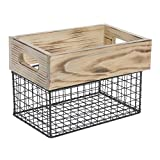 Expressly Hubert Rectangular Natural Wood and Black Wire Crate - 11 3/4''L x 7 7/8''W x 8''H