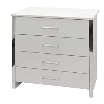 4 Drawer Chest Of Drawers In White Ash Effect With Chrome Trim And Silver Handles Gosport
