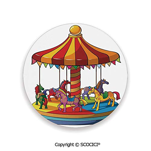 Ceramic coaster With wood Bottom Protection, For Mugs, Wine Glasses, Protects Furniture Round,Kids,Cartoon Carousel Horses Merry Go Round Amusement Park,3.9
