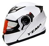 Yema Helmet YM-925 Casco Moto Modular con Doble Visera-Blanco-L
