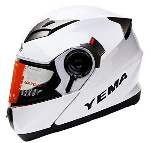 Yema YM-925 Motorradhelm Klapphelm mit Doppelvisier-Wei?-L