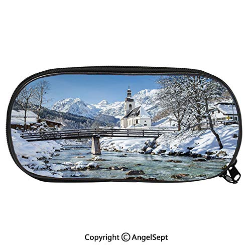 Unisex Student Pencil Case Pen BoxPanoramic View of Scenic Landscape in Bavaria Parish European Scenic Places Decorative Stationery Bag Cartoon Pouch Bags with Double Zippered for Girls Boy