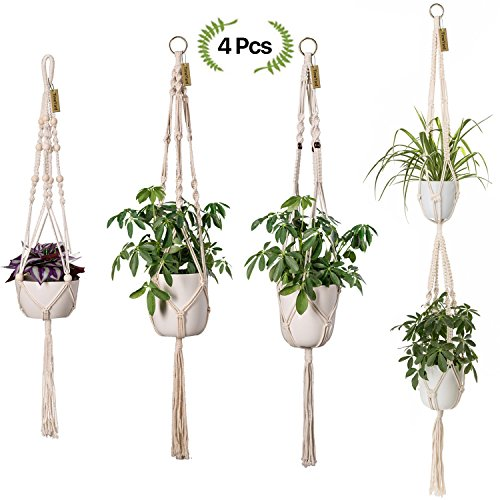 TimeYard Macrame Plant Hangers - 4 Pack, in Different Designs - Handmade Indoor Wall Hanging Planter Plant Holder - Modern Boho Home Decor by TIMEYARD