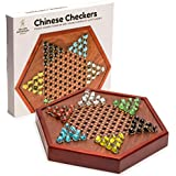 Chinese Checkers Game Set with Glass Marbles and 12.7 Inch Wooden Board