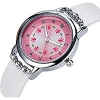 Girls Watches,Flowers Diamond Wrist Watch PU Leather Band Analog Quartz Cute Waterproof Watches for Kids Girls (White)