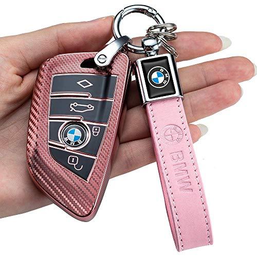BMW 를 위한 탄소섬유 광장 중요한 케이스(BMW 탄소 섬유 분홍색 BMW 를 위한 열쇠 고리를 커버 중요한 바지의 시계 케이스를 위한 BMW2 5 6 7 시리즈 X1X2X3X5X6 프리미엄 TPU 연약한 반대로 먼지