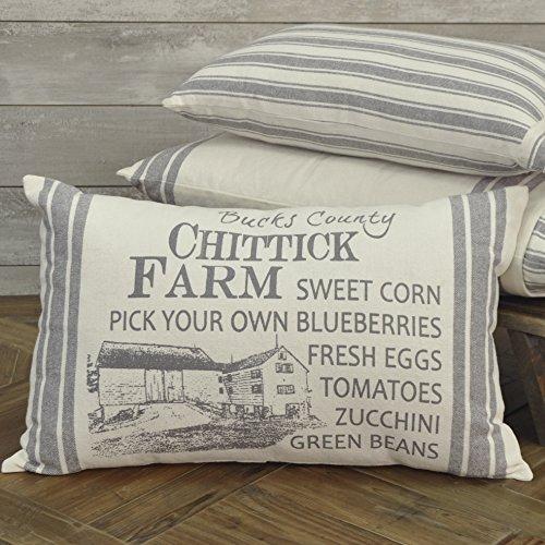 Vintage Grain Sack - Piper Classics Market Place Gray Chittick Farm Filled Pillow, 14