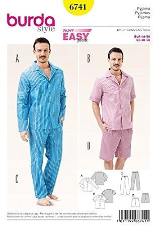 Burda Herren Schnittmuster 6741 Schlafanzug Tops, Hosen und Shorts + ...