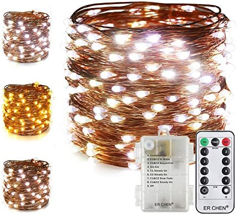 ER CHEN 66Ft 200 LED String Lights, Battery Operated Copper Wire Color Changing Christmas Fairy Lights with 8 Modes Remote Control Timer for Bedroom, Patio, Wedding, Party Warm White Cool White
