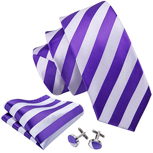 (Barry.Wang New Classic Stripe Necktie Set White Purpl,White Purple,One Size)