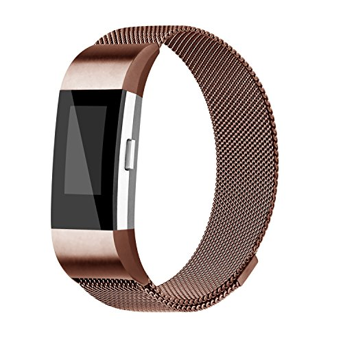 For Fitbit Charge 2 Bands, Charge 2 Milanese Loop Stainless Steel Metal Bracelet with Unique Magnet Clasp Replacement Bands for Fitbit Charge 2 Coffee Large