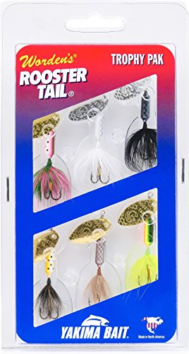 Yakima Rooster Tail Trophy Bait Pack - Six assorted colors (1/8-Ounce) (0.125 Lure Ounce)