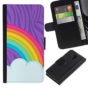 KingStore / Leather Etui en cuir / Samsung Galaxy S4 IV I9500 / Pintura del arco iris LGBT Derechos Gay Arte