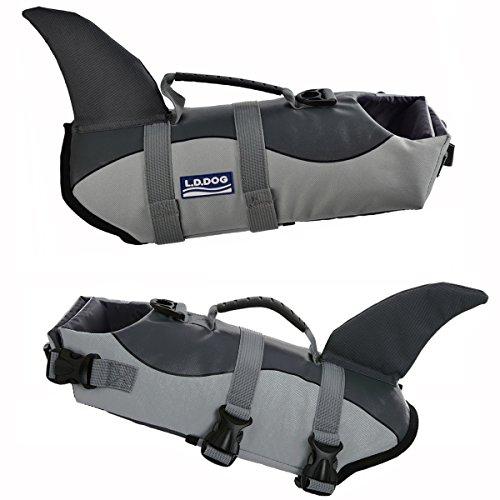 Picture of Dog life jackets Dog saver Life Jacket Dog Swimming Vest Adjustable Life Jacket for Dogs (L, Grey)