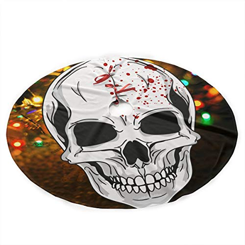 NLXQ Halloween Mask Clipart Christmas Tree Skirt Ornament 35inch Diameter Christmas Decoration New Year Party Supply]()