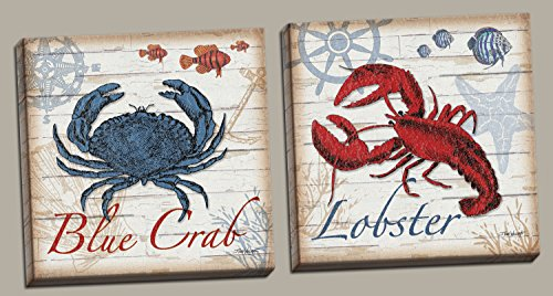 2 Nautical Blue Crab and Red Lobster Prints; Coastal Decor; Two 12x12in Stretched Canvases; Ready to hang! Red/Blue/Brown (Decor Red Lobster)