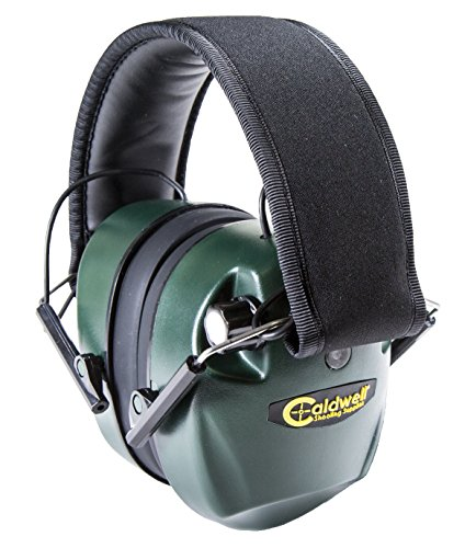 - Caldwell E-Max Electronic 25 NRR Hearing Protection with Sound Amplification and Adjustable Earmuffs for Shooting, Hunting and Range, Green