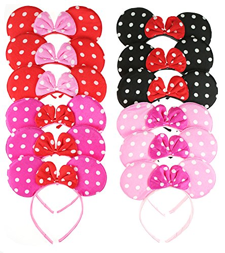 RufNTop Mickey and Minnie Mouse Polka Dots Ears Headband for Boys and Girls Costume Accessory for Birthday Party or Celebrations(Dots Mix Pack of 12)