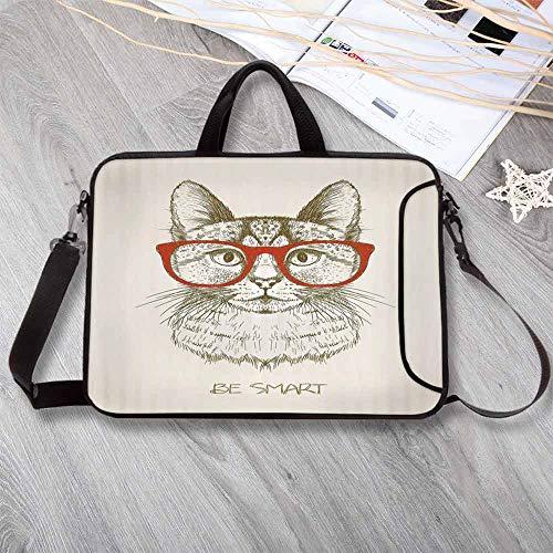 Cat Lightweight Neoprene Laptop Bag,Vintage Style Domestic Feral with Hipster Glasses Be Clever Boy Illustration Art Laptop Bag for Laptop Tablet PC,15.4