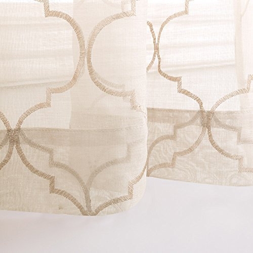 Moroccan Tile Sheer Curtains for Bedroom Curtain Geometry Lattice Embroidery Voile Sheer Curtains for Living Room Quatrefoil Window Treatment Set 95 inches Long, Taupe