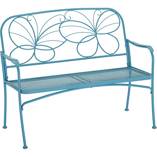 Mainstays Blue Butterfly Outdoor Patio Bench, with Armrests,rounded Corners and a Sturdy Frame, Enhances the Backrest That Greets You,your Family and Guest, Blue