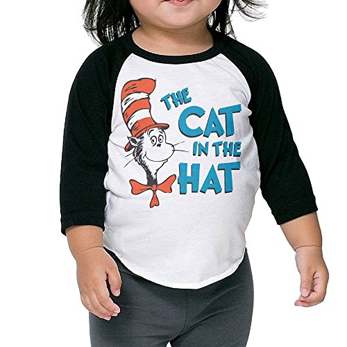 The Cat In The Hat Kid's Raglan T Shirts For 2-6 Years / Unisex Black (Cat In The Hat Toddler Shirt)