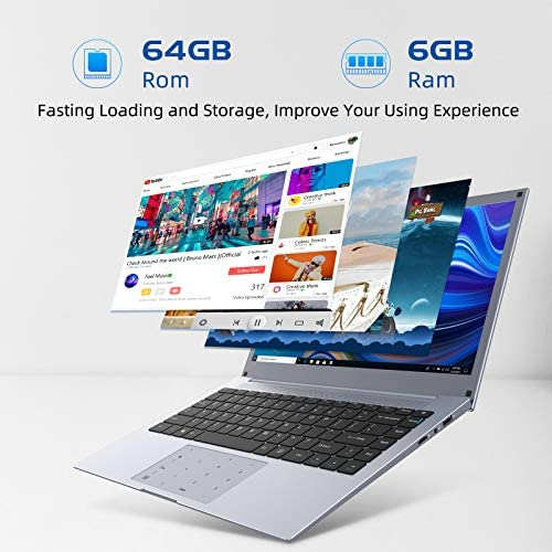 Laptop Computers 14-Inch Windows-10 Notebook - WinBook Intel Celeron Processor 6GB RAM 64GB ROM HD IPS Display Dual Band WiFi Numeric Touchpad Removal Webcam HDMI (Grey)