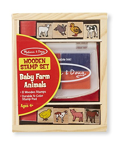 Melissa & Doug Baby Farm Animals Stamp Set With 8 Wooden Stamps and Four-Color Stamp ()