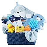 Newborn Baby Boy Bath Gift Basket with Hooded Towel, Washclothes, Organic Soap and Thermometer