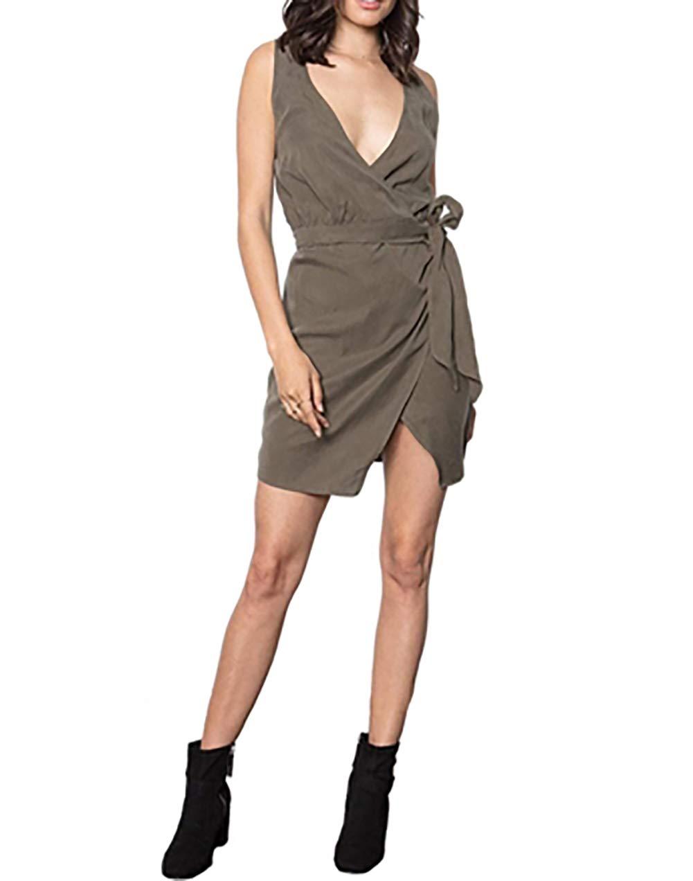 Stillwater The Knotty Wrap Dress in Olive (Medium)