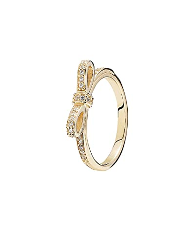 035e6c63a Image Unavailable. Image not available for. Color: Pandora Sparkling Bow  Stackable Ring ...