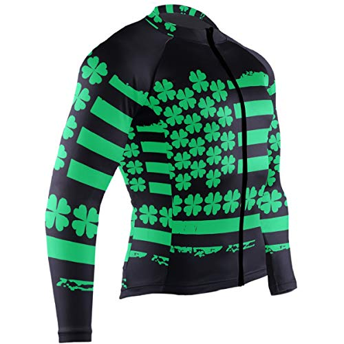 Men's Cycling Jerseys St Patrick's Day Irish USA Flag Quick Dry Bike Jacket Long Sleeve Shirt Tops Zipper Pockets
