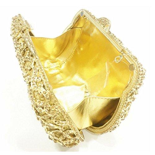 De à Rhinestone Soirée De D'embrayage Luxe Femmes Gold D'embrayage Sacs Main 5tTAAq