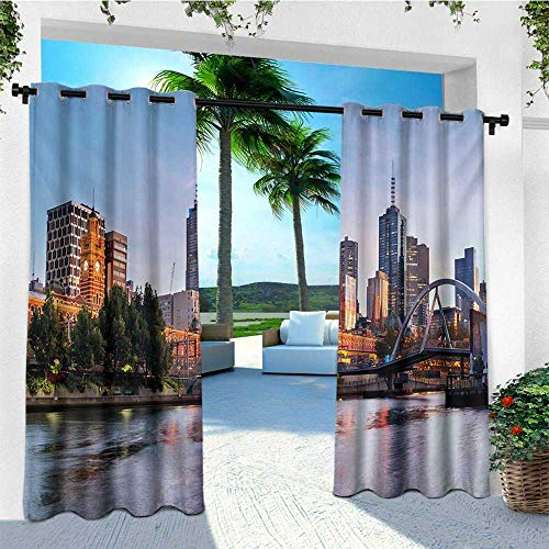 leinuoyi City, Outdoor Curtain Panel Design, Early Morning Scenery in Melbourne Australia Famous Yarra River Scenic, for Patio Furniture W108 x L96 Inch Orange Green Pale Blue