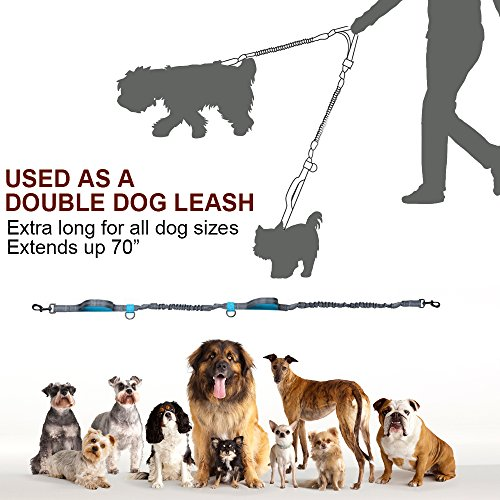Dostyle Hands Free Dog Leash Retractable Double Running