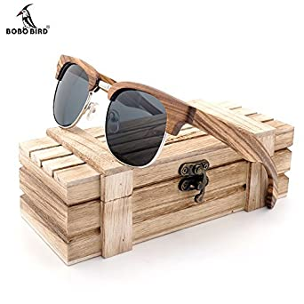 Mens Rimless Bird Sunglasses Polarized S06 Wood Clubmaster Semi Bobo qL4j3AR5
