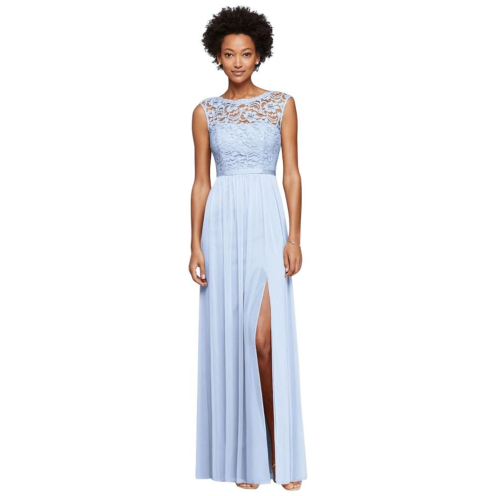 Long Bridesmaid Dress with Lace Bodice Style F19328, Ice Blue, 18